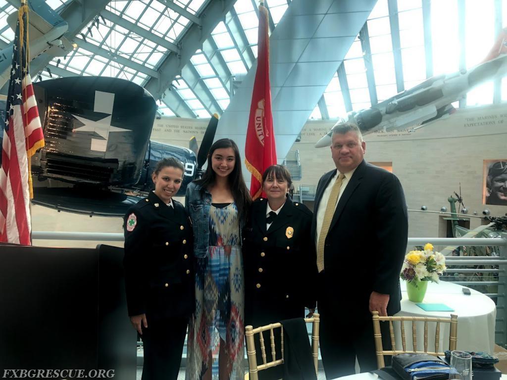 From Left to Right: Chief Katrina Ramos, Mikayla Cunney, Secretary Sandy Holland, and Lieutenant Scott Davis.